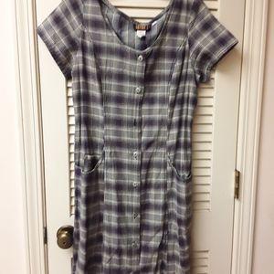 Grey Purple Plaid Buttoned Boho Dress Vintage 12